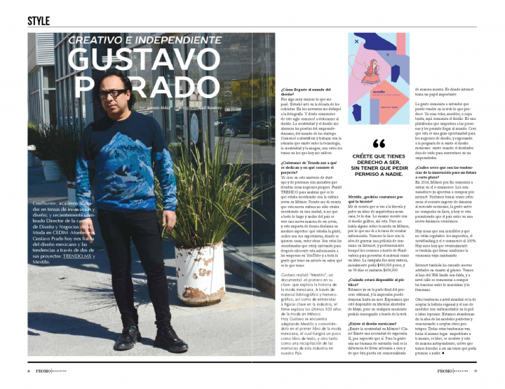 Gustavo Prado:  Creativo e independiente